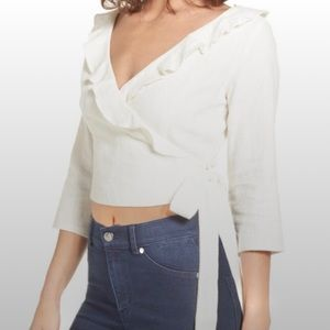 ASTR linen ruffle wrap crop top blouse cream M